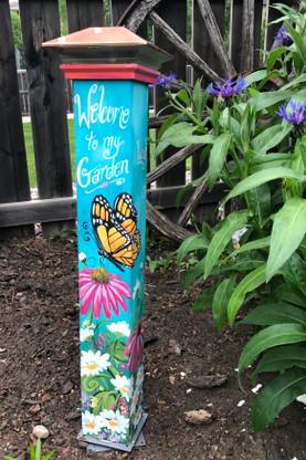 Butterfly Garden Pole Designed by copyright Holly Hanley 2020  www.hollyhanley.ca