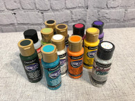 Paints, glitter and outdoor varnish needed for the Butterfly Garden Post.  12 in all.