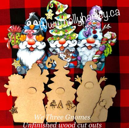 We Three Gnomes Wood Cut outs Set of 3