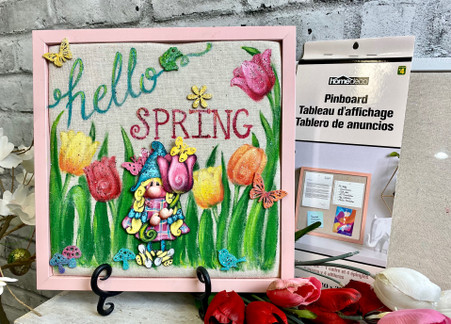 Hello Spring PinBoard from Dollarama by Holly Hanley