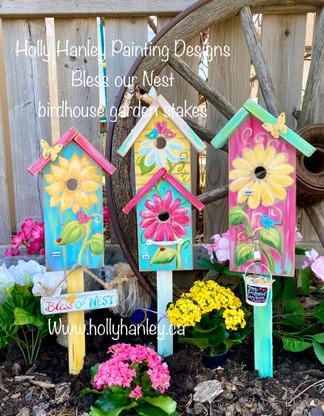 Birdhouse Garden Stakes by Holly Hanley Copyright 2021