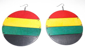 Large Wooden Round Rasta Slatted Earrings