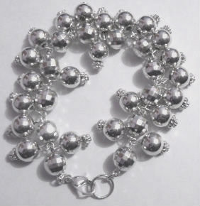 70's Disco Ball Charm Bracelet  Retro, throwback...fun times.  Silver charms, acrylic material. Made in India.