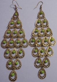 "Gold Multi-dangle Earrings  2.5"" in length; lime green or ivory color beads. Made in India."
