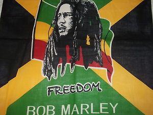 Bob Marley Freedom Bandana  Freedom Bob Marley portrait in center; 22 x 22.