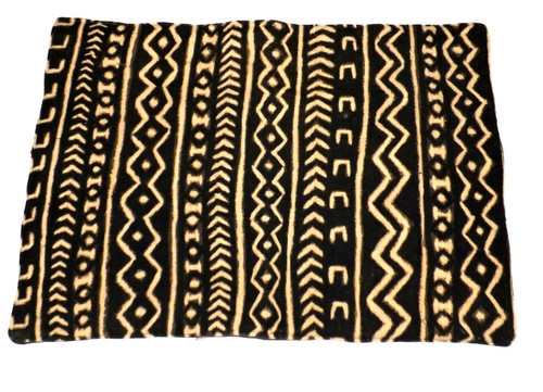 """Mud cloth Place mats  Custom made mats from Mali.  These 100% woven cotton place mats are designed to complement any dining room theme.  Size 20"""" x 14""""; 100% woven cotton; fabric is made from natural fibers. Machine washable or hand wash and lay flat to dry.  Do not use bleach or harsh chemicals."""