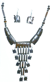 """Hand carved Elephant Tribal Necklace Set  Elephants adorn this necklace; with matching earrings.  Necklace is made of bone; 14-16"""" necklace with 1.5"""" earrings."""
