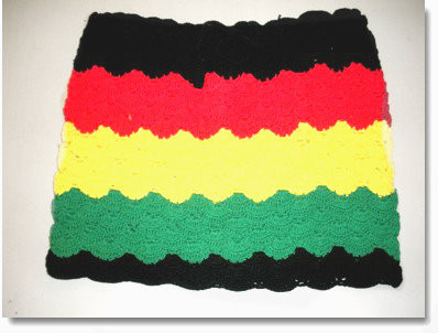 Crocheted Rasta Mini Skirt  Rasta skirt in red, yellow, green, black stripes. Hand crocheted, 100% cotton. Size:  XXL
