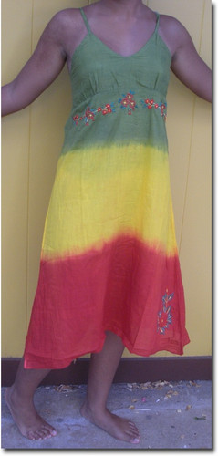 Jamaica Tie Dye Dress  Rasta dress. Empire waist with adjustable straps. Hand embroidered flowers at waist and on bottom. Long dress in soft 100% cotton. Sizes S/M.