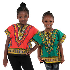 Traditional Dashiki Children's Tops (Elastic Waist)  Each dashiki has a stand-out design, hue, and a soft, roomy feel. Has a form fitting elastic waist. The border color on the dashiki may vary from the picture. Comes with two pockets.100% cotton. Made in Thailand.