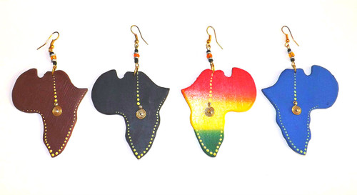 "2.5"" Handmade Africa Map Wooden Earrings  Hand-carved Africa map earrings; gold accents."