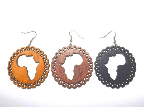 """Wooden Africa Map Earrings (Style #1)   Round wooden Africa map symbol earrings; most popular adinkra symbols used in jewelry.  2.5"""" x 2""""."""