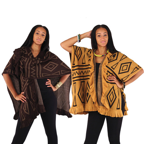 """Warm and cozy shawl with mud print designs. 34"""" in length. 70"""" wide.100% viscose. Made in China."""
