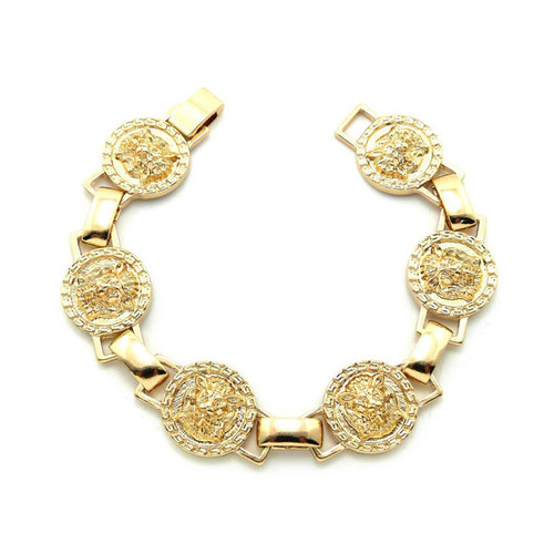 """Gold Lion Head Link Bracelet  Lion Head linked chain bracelet; pendants are 1"""" and bracelet is 8"""". Made in China."""