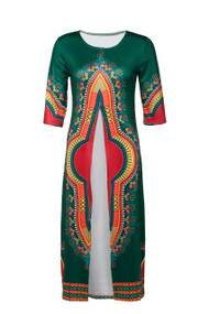 """Long Open Front Dashiki Top  Hunter Green open front long dashiki shirt; can be worn casually over leggings.  Fits up to a 32"""" chest, length 42"""""""