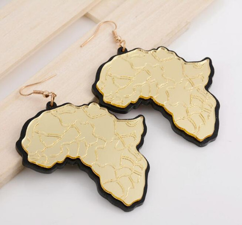 Acrylic Gold Africa Map EarringsStyle 2 Beez Afrocentric