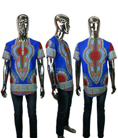 "Wax African Dashiki Shirts  Traditional African Print Dashiki wax snap button tops; side pockets  L (fits up to a 42"" chest, length: 30""   XL fits up to a 44"" chest, length: 30""."