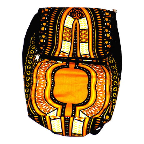 """Dashiki Back Pack  Traditional African print dashiki back pack is 19"""" in length, 15"""" wide. Strap drop (22"""" and adjustable). Large exterior 11"""" zippered pocket to keep extras in.  Book-bag zips close at the top.  Bag is not water proof; so cover to keep protected. No interior pockets."""