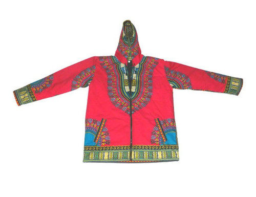 Traditional Print Dashiki Jackets  Fully lined dashiki jackets best for mild weather; sizes small, medium, large.  Drawstring hood, side pockets.  Colors: Black, Blue, Purple, Orange, Red and Lime Green.