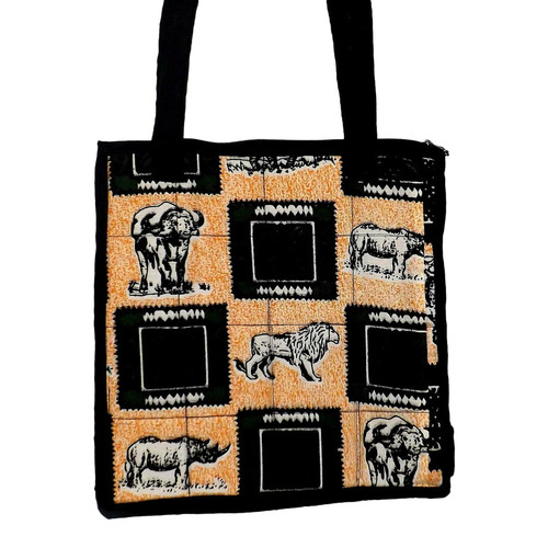 "Safari Animal Print Shopping Tote Bag  100% cotton tote is 13"" in length and width; 11"" shoulder drop.  Padded inside, and one large interior pocket.  Zippered closure.  Made in Kenya."