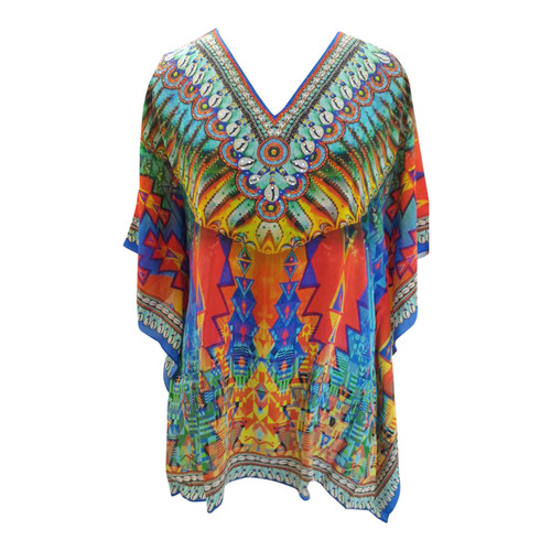 "Colorful Cowrie Shell Tunic Tops  Colorful rainbow embellished cowrie shell tunic top features:   Cowrie shell print embellished tunic top on neck, hem and sleeves Poly Crepe fabric Bat-wing sleeves Machine washable  Fits up to a 44"" chest, 30"" length"