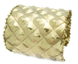 """Gold Quilted Cuff Bracelet  2.75"""" gold quilted cuff bracelet; 2.75"""" length, 6"""" diameter, opening 1"""""""