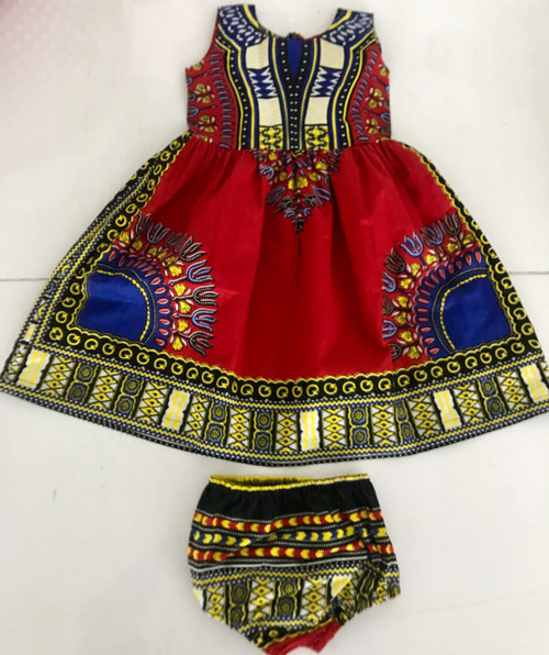 Traditional African Print Toddler Dashiki Dress Set  Dress you toddler in the latest dashiki fashion wave.  Dresses sizes are 2T, 4T, 6T with matching elastic bloomers.   Machine Washable in cool water.