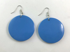 """Small Wooden Round Earrings  Light weight wooden glossy earrings; just the right size for those who don't wear large earrings. Colors: Turquoise, Black, Royal Blue, Purple, Red, Silver, Gold, Orange, Fuchsia, White.  1.5"""" x 1.5""""."""