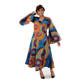 "African Print Wrap Dress  Dress wraps around you like a robe with 2 straps to tighten waist. Fits up to a 46"" bust and 47"" length. 100% cotton. Machine wash cold water. Gentle cycle dry. Made in India."