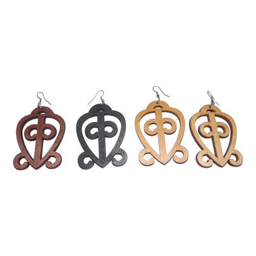 Adinkra Wooden Earrings  Do you know the power of love? Wear these African adinkra power of love statement earrings which translates to:    ODO NNYEW FIE KWAN=Love never loses its way home.