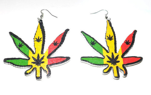 "Cannabis Statement Earrings  3"" wooden cannabis earrings. Made in China."