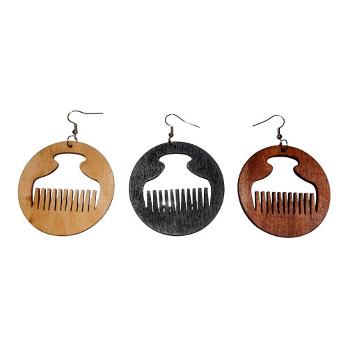"""Small Wooden Afro Comb (Duafe) Earrings  2"""" Wooden afro comb earrings in three colors to choose from: Black, Natural or Dark Brown. Made in China."""