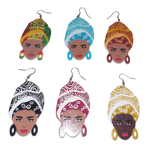 "3.5"" African Girl Wooden Earrings  Six (6) vibrant colors to choose from. Made in China."