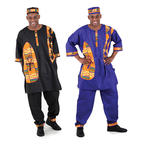 "Men's Brocade Ankh & Kente Print Pants Set  Bring the Ankh and kente design into your wardrobe with this pant suit. Shirt fits up to 54"" chest. 37"" length. Drawstring Pants have 31"" inseam and 43"" length. Fits up to 42"" waist. Comes with matching hat. 55% cotton / 45% polyester. Made in India. Wash separately in cold water."
