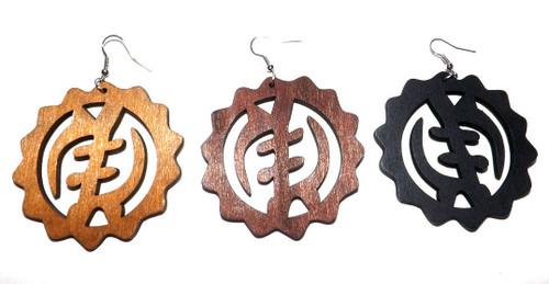 """Large Wooden Gye Nyame Earrings  3.5"""" Wooden Gye Nyame Adinkra Earrings. Color: Black, Medium Brown, Dark brown."""