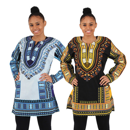 "Stand out with the unique design of the traditional print on this long-sleeve dashiki. Soft and roomy it is designed for comfort and style. Available in a wide variety of colors and comes with two convenient pockets. Border colors and patterns may change. Made of 100% cotton. Best if hand washed in cold water. Made in India. C-U940  Border colors and patterns may change.  SM - 40"" chest. 32"" length. MD - 44"" chest. 33"" length. LG - 46"" chest. 33"" length. XL - 48"" chest. 33"" length."