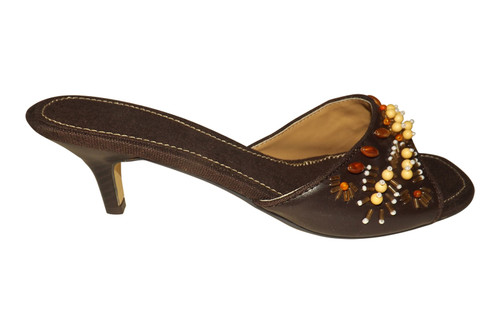 "Avon Brown Bead Cloth/Faux Leather Sandals  Slip on brown cloth & faux leather beaded sandals with a 2"" heel. Cluster of beads adorn the front of the sandal.  Sizes 9/40 only."