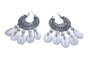 "3"" Bohemian Cowrie Shell Earrings  White & Silver bohemian/gypsy cowrie shell dangle earrings."