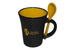 Gye Nyame Coffee Mugs  A perfect give for your loved one.  The Adinkra popular know symbol_Gye Nyame Symbol which means having great faith in God or the Supreme being.  10 oz capacity  Black exterior/Mustard interior with matching spoon Durable ceramic mug with grip handle Microwave and Dishwasher safe
