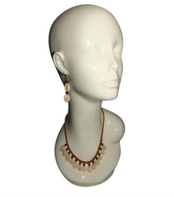"""Amber & Cowrie Shell Necklace Set  12-14"""" necklace and matching cowrie earrings in 2.5"""" length."""