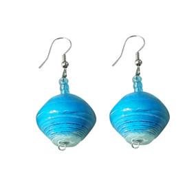 "Festival Paper Beaded Earrings  2"" paper beaded handcrafted earrings. Made in Kenya."