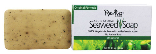 Natural Seaweed Soap  Said to stimulate circulation and treat cellulite skin problems. Vegetable base and grains.   Ingredients: Sodium Palmate, Cocoate, Water, Sorbitan Oleate, Atlantic and/or Pacific seaweed grains, Glycerin, Walnut Shell Powder, microscopic blue-green algae, sodium chloride, Trisodium Hedta, fragrance and iron oxides.