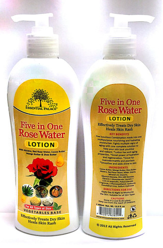 Five luxurious combination ingredients made into one multipurpose nourishing and hydrating moisturizer. Fights multiple signs of aging with one complete solution to help your skin look youthful and radiant.  Lotion has anti – aging properties. Great power of hydration and regeneration. Great for numerous dermatitis and psoriasis. Smooths and adds shine to skin
