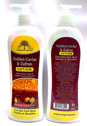 Golden Caviar & Zafran  Nutrient rich caviar extract provides hydration in skin care and combats loss of firmness in skin. It is an ultimate Anti – Aging Skin – care ingredient.  Golden Caviar firms – tech delivery system when gently massaged into the skin allows repairing and preventative benefits which specialize in counteracting aging and environmental damage.  A culinary luxury used for skin. Caviar improves skins elasticity. Improves and prevents wrinkles Super anti – aging formula . Skin will feel soft & smooth.