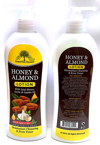 Honey & Almond Body Lotion  Honey is an amazing powerful skin treatment that can help you regain your glow.  It is extremely moisturizing and soothing, which helps give skin that glow. Raw honey is beneficial to your skin thanks to its antibacterial and antioxidant properties. The antibacterial properties help with acne treatment and prevention.  Almond oil contains vitamins that help it delay the appearance of wrinkles. Great for skin conditions such as Eczema and Acne. Almond Oil is Anti – Inflammatory.