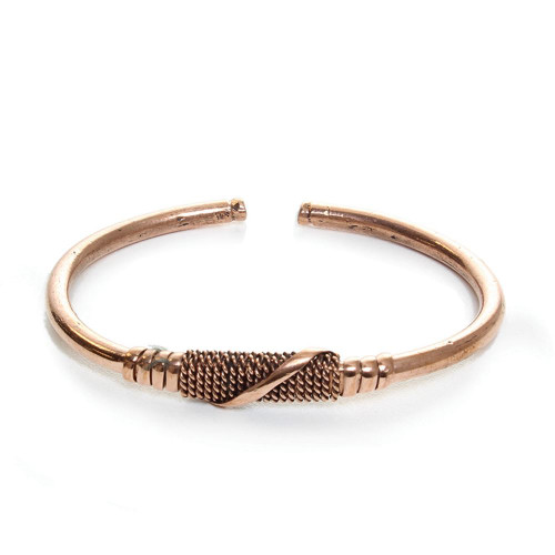 """Copper Metal Twist Bracelet  Made of copper, this bracelet is 8.5"""". Bendable with a gap makes it adjust to most wrist sizes. Made in Kenya."""