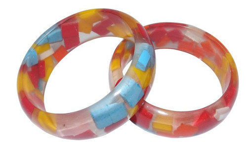 Girl's Multicolored Sponge Acrylic Bangle  Clear acrylic bangle with bits of colored sponge particles.  For girl's age 7 and up. Made in India.