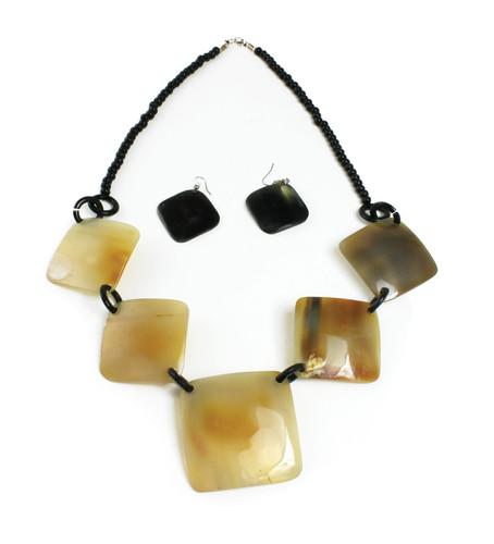 """Tiger's Eye Horn Necklace Set Two small squares and one large one in the middle. Earrings are one smaller tiger eye square each. Necklace 10-12"""" long. Earring 2"""" drop."""