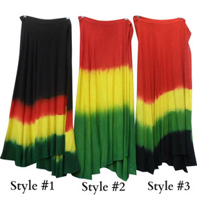 "Long Bohemian Style Rasta Tie Dye Skirts  From hip to hem 39"" length; one size fits most up to 2X, 100% Rayon.  Three patterns to choose from."