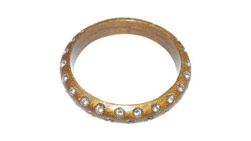 Faux Stone Gold Bangle  Gold metal bangle and clear faux stones. Made in India